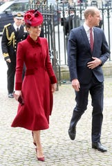 Prince William and Duchess Kate of Cambridge arrive at Westminster Abbey for the annual Commonwealth Day service on March 9, 2020 in London.