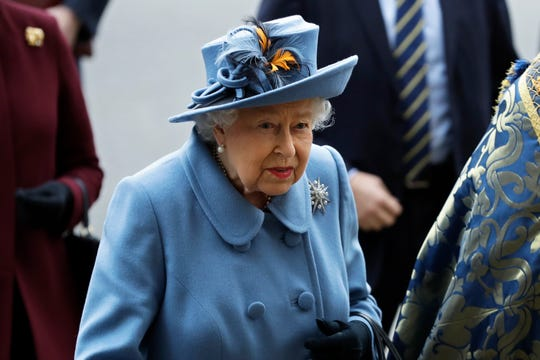 Queen Elizabeth II arrives to attend the annual Commonwealth Day service at Westminster Abbey in London,  March 9, 2020.