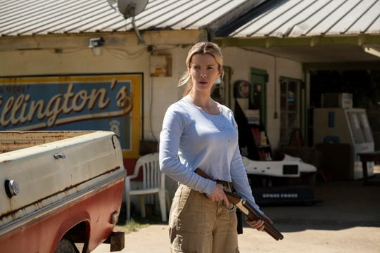 """Crystal (Betty Gilpin) finds herself on her own in a mission of survival in """"The Hunt."""""""