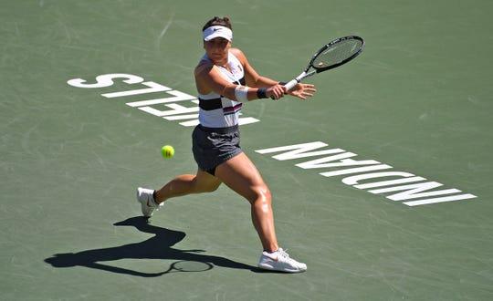Bianca Andreescu plays a backhand during the 2019 BNP Paribas Open women's singles final.