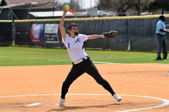 Abilene High's Maddie Perez pitches during a district game against Hurst Bell on March 9. AHS' district opponents for 2021-22 will shift from Metroplex-heavy to West Texas.
