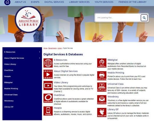 Digital services available through the Abilene Public Library.