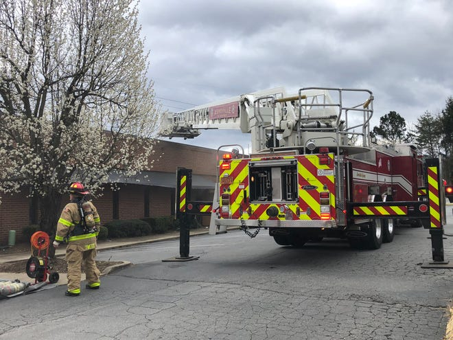 The Asheville Fire Department responds to a blaze at J&S Cafeteria March 10, 2020.