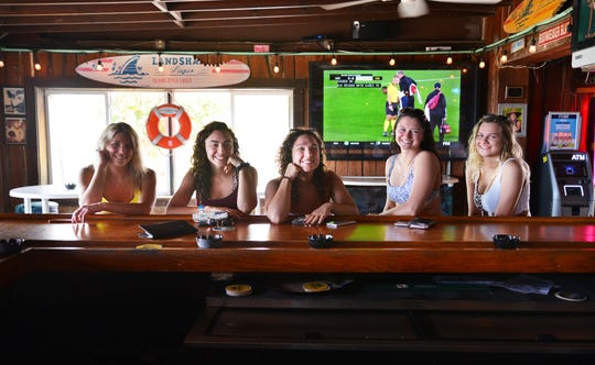 Members of the Lake Erie College women's soccer team drop by Beach Shack in Cocoa Beach during spring break.