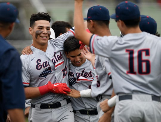 Daylan Pena celebrates with his Veterans Memorial teammates after hitting one of his two home runs against Moody on Tuesday, March 10, 2020 at Cabaniss Baseball Field.