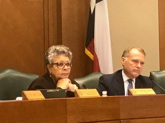 State Rep. Senfronia Thompson, chairwoman of the Texas House Public Health Committee, alongside Rep. John Wray during a hearing on the spread of coronavirus, March 10, 2020.