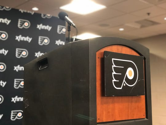 The Flyers started conducting all interviews behind a lectern Tuesday, in conjunction with policy set by the NHL, NBA, MLB and MLS.