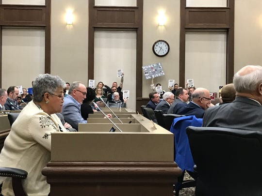 County Commissioner Lisa Prichard, foreground, speaks up against the Second Amendment Sanctuary resolution Monday night as local residents, mostly supporters of the measure, wave signs and materials about gun rights in the gallery.