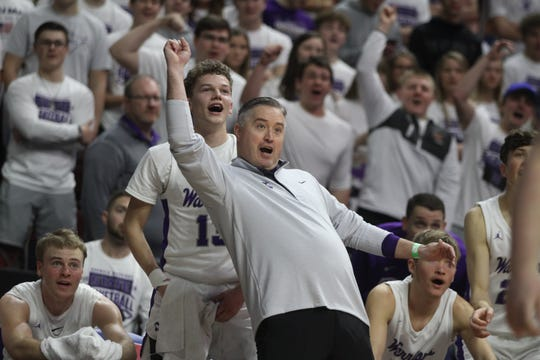 Norwalk's Bowen Born and head coach Chris Larson react to a play late in the game. Norwalk beat Harlan 72-37 in a Class 3A state quarterfinal March 10 at Wells Fargo Arena in Des Moines.