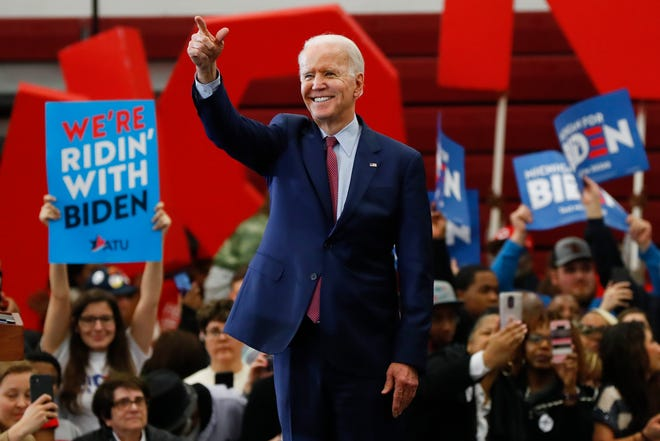 Democratic presidential candidate former Vice President Joe Biden speaks during a campaign rally at Renaissance High School in Detroit on Monday, March 9, 2020.