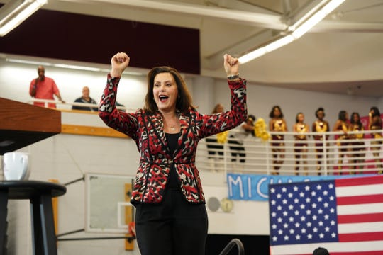 Michigan Governor Gretchen Whitmer speaks before Democratic presidential candidate and former Vice President Joe Biden during a Get Out the Vote event at Renaissance High School in Detroit on Monday, March 9, 2020.