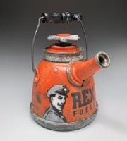 Ceramic artist Frank James Fisher's teapot was inspired by the oil industry.