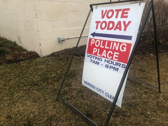 Voting sign at Tuesday, March 10, 2020, at the Fitzgerald Recreation Center.