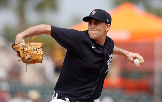 Tigers pitcher Matthew Boyd throws during the 4-1 win over the Pirates in spring training on Tuesday, March 10, 2020, in Lakeland, Fla.