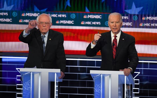 Sen. Bernie Sanders (left) and former Vice President Joe Biden