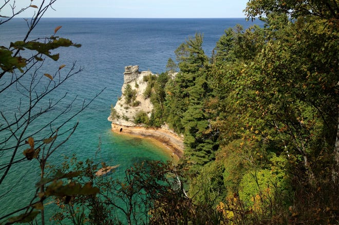 Miner's Castle is one of Pictured Rocks National Lakeshore's most elegant sights, with its striations, set against the clear waters of Lake Superior.
