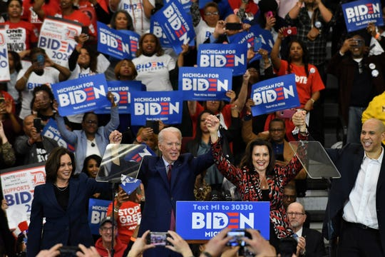 From left, Sen. Kamala Harris, Joe Biden, Gov.  Gretchen Whitmer and Cory Booker at the Joe Biden campaign event at Renaissance High School in Detroit on Mar. 9, 2020.