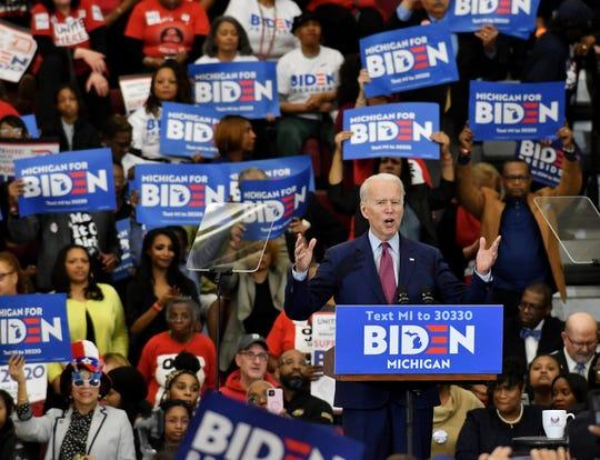 Joe Biden addresses supporters at Renaissance High School.