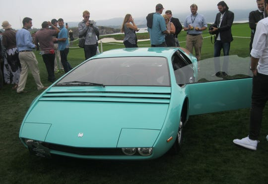 Giorgetto Giugiaro designed this 1966 concept car built on a Bizzarrini P538 and later transformed it into an ultra-modern sports car. The Manta's roof is a constant curve from hood to tail; the windshield has a 15-degree rake and a blind system which can be opened for town driving and closed to improve aerodynamics at higher speeds. The car is owned by Albert Spiess of Pfaffikon, Switzerland.