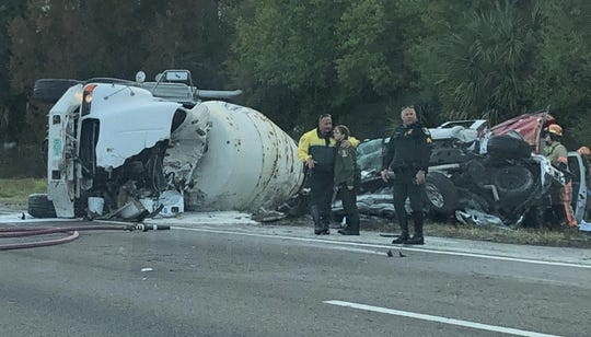 Three people, including a Cape Coral man, were killed and another Cape Coral man critically injured in a seven-car crash Monday morning on I-75 northbound in Sarasota County.
