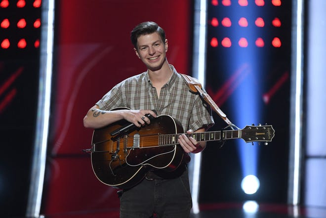 "Jacob Miller, an Eden, Wisconsin native, auditioned for ""The Voice"" in its episode on Monday, March 9.  Haddad/NBC)"