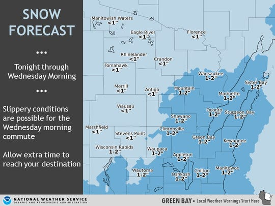 About 1 to 2 inches of snow is expected Tuesday night into Wednesday morning.