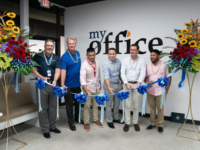 PTI Pacific celebrated the grand opening of My Office on March 5. Pictured, from left, are Jay Shedd, senior director of sales, marketing and customer service of IT&E; Jim Oehlerking, CEO of IT&E; Brian Bamba, senior director of IP&E; Charles McJohn, property manager of ITC; Jim Beighley, CEO of Pacific Islands and group head of strategy and mergers and acquisition, Citadel Holdings Inc.; and Kenny Leon Guerrero, representing the office of Del. Mike San Nicolas.