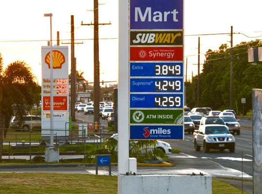Mobil at intersection of Ysengsong and Route 1 in Dededo shows gas prices at $3.85 on March 10, 2020.