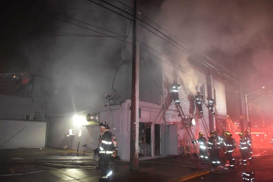 Indianapolis firefighters battle a Jan. 11, 2020, blaze at Kountry Kitchen soul food restaurant, 1831 N. College Ave., Indianapolis.