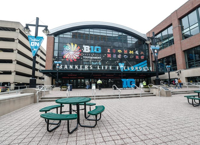 Banker's Life. Fieldhouse is decked out with signage before the NCAA Big Ten tournament in Indianapolis, Tuesday, March 10, 2020.