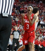 Mar 1, 2020; Lincoln, Nebraska, USA;  Nebraska Cornhuskers guard Cam Mack (3) reacts after being called for a foul against the Northwestern Wildcats in the second half at Pinnacle Bank Arena.