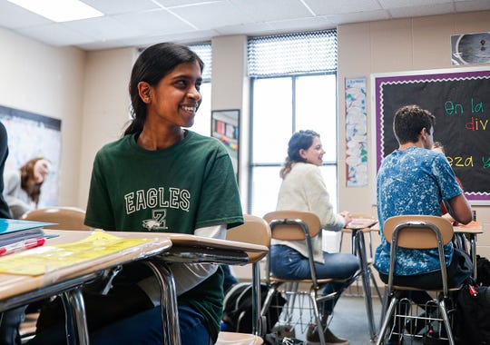 Zionsville Junior Keerti Mallur sits in a Spanish class at Zionsville High School, Thursday, Feb., 27, 2020. Mallur scored a perfect ACT.