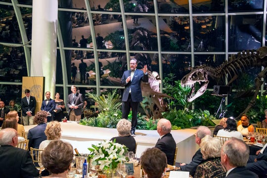 Discovery Park of America Director Scott Williams speaks to the crowd at DPA's inaugural fundraiser and gala on Saturday.