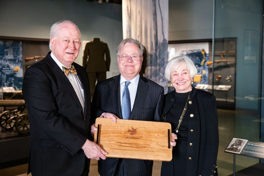 Ron Kirkland (left) presented the inaugural Kirkland Award to Carl and Alice Kirkland in honor of Robert and Jenny Kirkland on Saturday.
