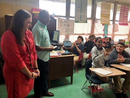 James A. Herod Elementary fifth-grade teacher Hannah Hebert was among 21 Vermilion Parish educators surprised with news that they were finalists for the new Kiwanis Educator Award Tuesday, March 10, 2020. Recognizing the finalists was KEA program chair Andrew Dozier.