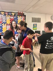 Erath Middle paraprofessional Paula Duhon was among 21 Vermilion Parish educators surprised with news that they were finalists for the new Kiwanis Educator Award Tuesday, March 10, 2020.