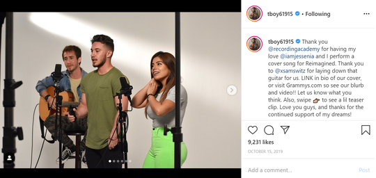 "Musician and social media influencer Jaimie Wilson (center) performs a cover of Oasis song ""Wonderwall"" with girlfriend Jessenia Gallegos and Sam Switz on guitar for The Recording Academy's video series ""Reimagined,"" as seen in this Instagram post."