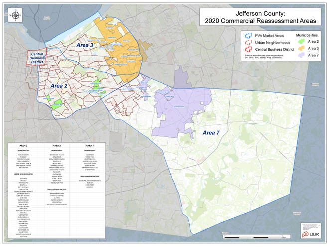 Properties within these three areas of Jefferson County will be reassessed by the Property Valuation Administrator in 2020.