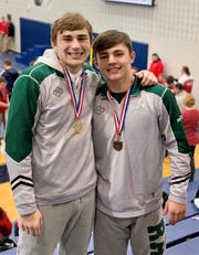 Madison's state-bound juniors Nate Barrett (160 pounds) and Trenton Osborne (170) have been wrestling together for six years and have been best friends longer than that.