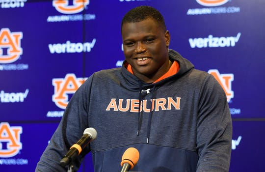 Auburn defensive end Marlon Davidson (3) speaks to reporters during a press conference on Tuesday, Oct. 22, 2019 in Auburn, Ala.