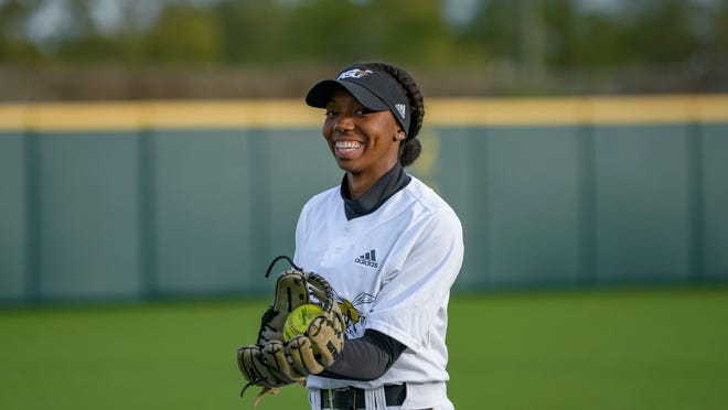 Alabama State outfielder Kindall DeRamus catches during an NCAA softball game against Southern University on Saturday, March 7, 2020, in New Orleans. (AP Photo/Matthew Hinton)