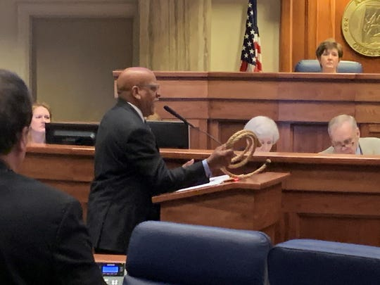 Sen. Rodger Smitherman, D-Birmingham, brandished a rope -- a sign of Alabama's legacy of racism -- on the floor of the Alabama Senate on March 10, 2020. Smitherman spoke in opposition to a bill sponsored by Sen. Gerald Allen, R-Tuscaloosa, that would increase penalties for cities that disturb historic monuments in a 2017 law. The law was widely criticized as providing protection to Confederate monuments, raised in the late 19th and early 20th centuries to glorify white supremacy.