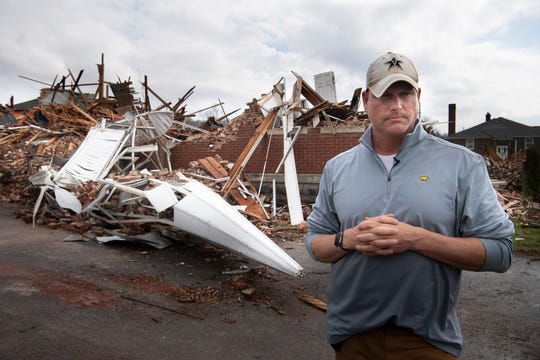 The Rev. Tommy Shelton, pastor of Dodson Chapel United Methodist Church and a Mt. Juliet Police detective, has been balancing his duties to his congregants and his duties as a police officer since a tornado ripped through the area and demolished his church March 3. Shelton was photographed Tuesday, March 10, 2020 in Nashville, Tenn.
