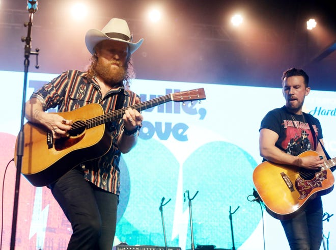 """Brothers Osborne perform during the tornado relief benefit concert """"To Nashville, With Love"""" at Marathon Music Works Monday, March 9, 2020."""