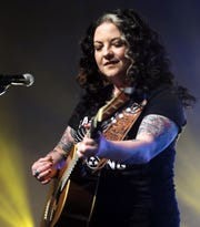 """Ashley McBryde performs during the tornado relief benefit concert ,""""To Nashville, With Love,"""" at Marathon Music Works Monday, March 9, 2020."""