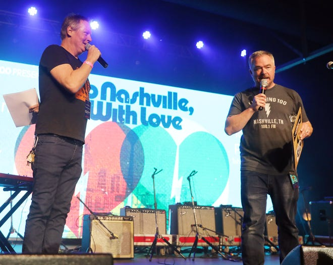"""Mike Grimes and Lt. Dan make opening remarks during the tornado relief benefit concert, """"To Nashville, With Love,"""" at Marathon Music Works Monday, March 9, 2020."""