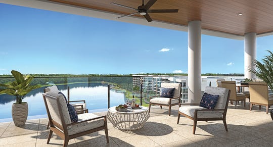 The Clubhouse Residences at Moorings Park Grande Lake feature large lanais with expansive vistas.