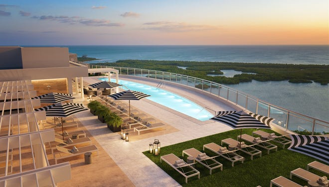 The rooftop amenities atop Tower 300 at Kalea Bay will include a pool, open-air fitness center and sky lounge.