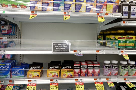 Lysol spray was sold out at the Acme in Fort Lee early Tuesday afternoon, March 10, 2020.