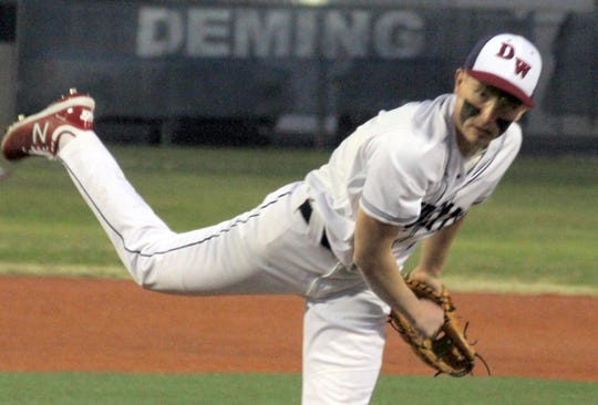 Senior Wildcat pitcher Creighton Apodaca worked four innings of one-hit baseball while striking out 8 and walking one in Deming's 9-3 win over Santa Teresa on Friday.